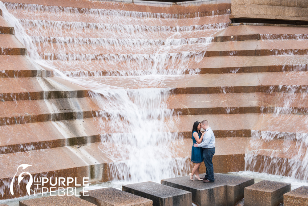 Classic Engagement Session Downtown Fort Worth Water Gardens   The Purple  Pebble   Dallas Fort Worth Wedding Photographers