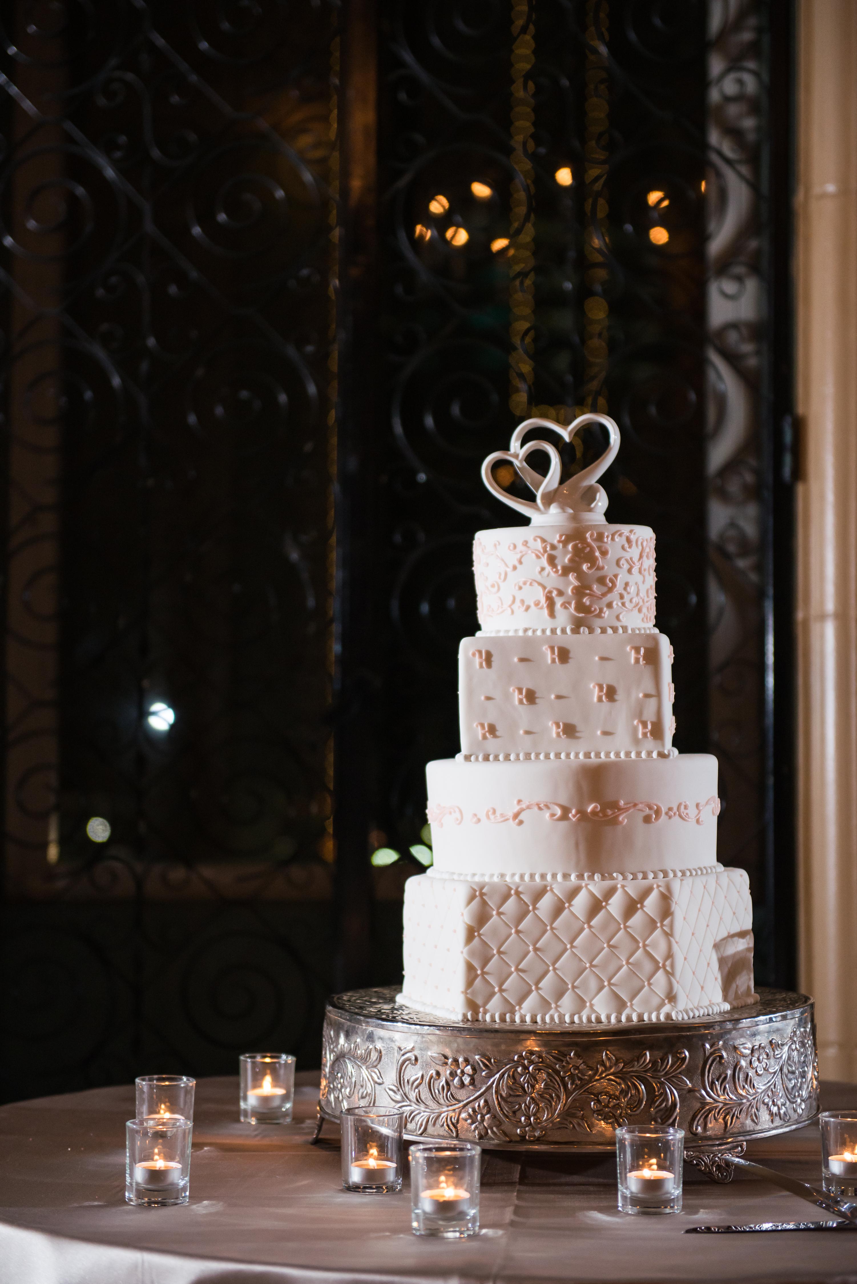 beautiful white pink wedding cake fort worth club The Purple